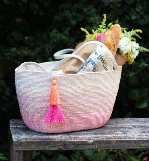 пляжная сумка, сумка из веревки, одежда для пляжа, полезное рукоделие, сумка своими руками