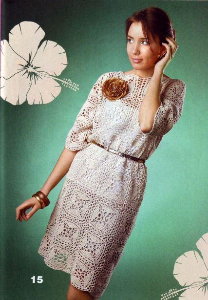 вязаные платья со схемами, схемы вязания крючком с описанием,