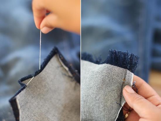 как переделать джинсы, джинсы с бахромой, декор одежды своими руками