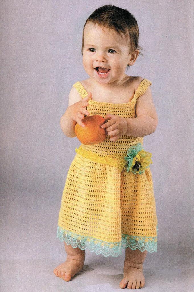 вязание для девочек до года, модели вязания для девочек, сарафан для девочки