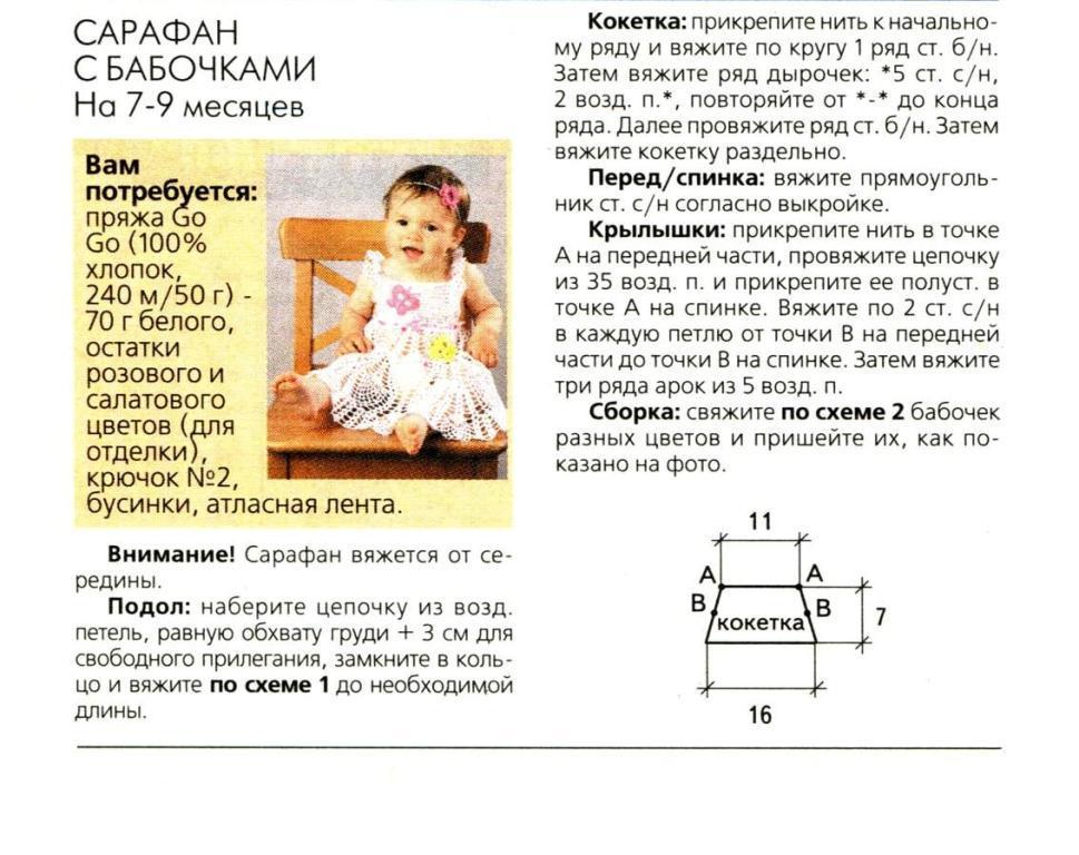 Вязание сарафанов для девочек до года спицами 309
