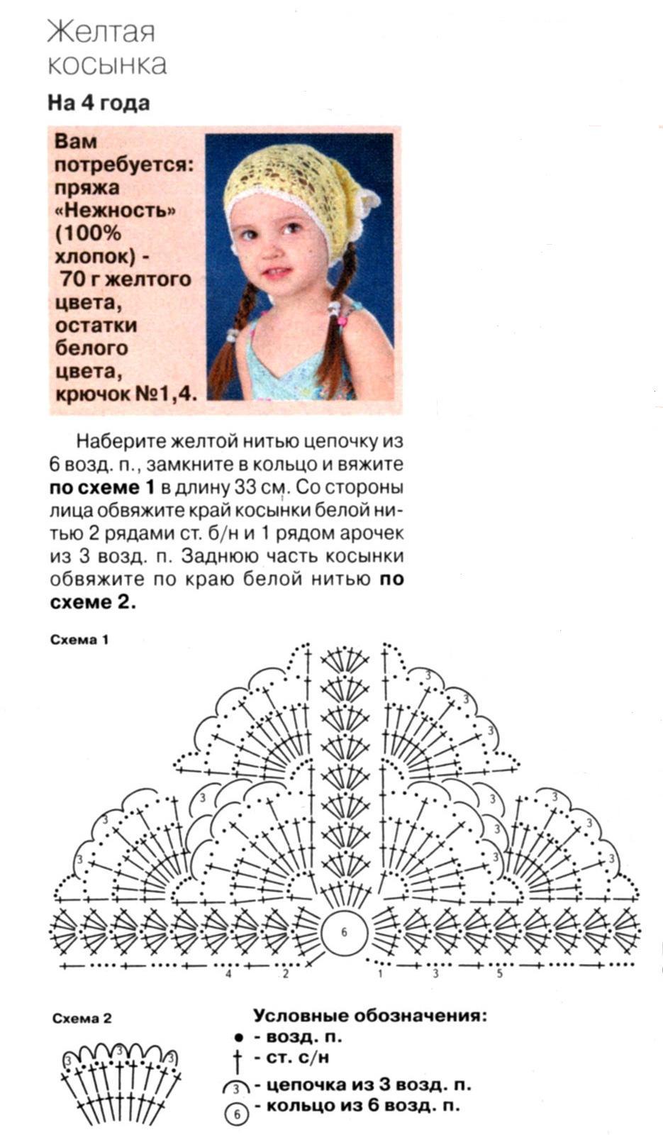 Схемы вязания косынок для девочек