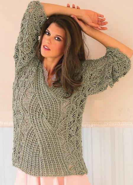 вязаный ажурный пуловер, вязание, вязание для женщин, вязание спицами, пуловер свитер